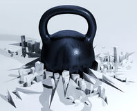 Weight breaking ground. Black steel metal with bumpy rough texture. 3d illustration Royalty Free Stock Photography