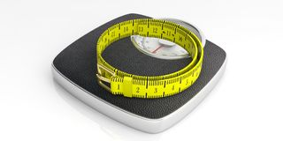 Weighing scale and measure tape isolated on white background. 3d illustration. Weight control concept. Bathroom scale and measure tape isolated on white Royalty Free Stock Photo