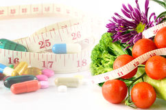 Weight Control Concept by Medicine and Diet Control. Royalty Free Stock Photo