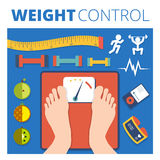 Weight control vector illustration design. Fitness and diet back Stock Images