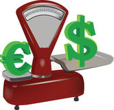 Weight of the dollar and euro Stock Image
