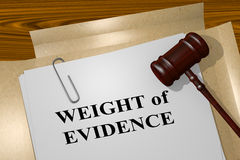 Weight of Evidence - legal concept. 3D illustration of WEIGHT of EVIDENCE title on legal document Stock Photo