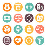 Weight and fitness colored icon set Royalty Free Stock Photos