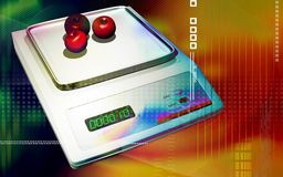 Weight gauge with apple Royalty Free Stock Images
