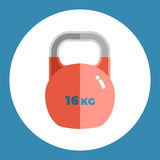 Weight icon. Red weight on a blue background. Sports Equipment. Vector Illustration. Stock Images