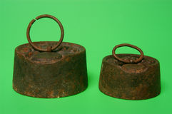 Weight iron,two rusty iron weights Stock Images