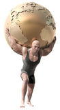 Weight lifter. A muscular man with a body suit lifting a globe of the earth Stock Photography