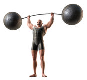 Weight lifter. A muscular man with a handlebar mustache and a body suit lifting a weight with a bending bar Stock Photos