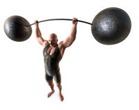Weight lifter. A muscular man with a handlebar mustache and a body suit lifting a weight with a bending bar Stock Image