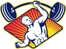 Weight lifter Body Builder Lifting Barbell stock illustration