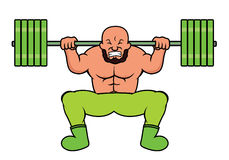 Weight Lifter Doing Heavy Barbell Squat Cartoon Royalty Free Stock Images