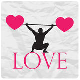 Weight lifter and hearts. Abstract vector illustration of a weight lifter and hearts on a paper-background Stock Photography