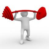 Weight-lifter hebt Barbell auf Weiß an Stockfoto
