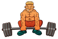 Weight Lifter Lifting Heavy Barbell Cartoon Royalty Free Stock Photos
