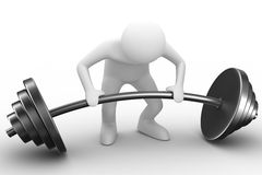 Weight-lifter lifts barbell on white Royalty Free Stock Images