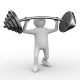Weight-lifter lifts barbell on white Stock Photos