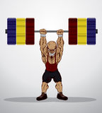 Weight lifter. A muscular man with a handlebar mustache and a body Royalty Free Stock Image