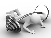 Weight-lifter pressed down barbell. Isolated 3D image Stock Images