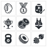 Weight lifting and arm wrestling icon set Royalty Free Stock Image