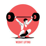 Weight Lifting athlete. On circle background. Snatch. Colorful symbol Stock Images