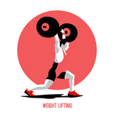 Weight Lifting athlete. Squat and jerk. Colorful symbol Stock Photography