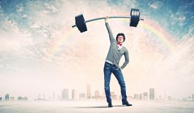 Weight Lifting businessman Royalty Free Stock Photo