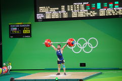 Weight lifting competition at Rio2016 Olympics. With Iran's Kianoush Rostami who won gold medal in Men's 85 kg category Royalty Free Stock Photo