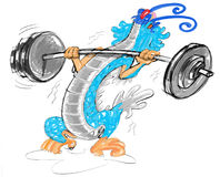Weight lifting dragon cartoon Stock Photo