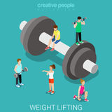 Weight lifting dumbbell sport sportsmen flat isometric vector 3d Royalty Free Stock Photography