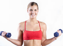 Weight lifting girl Stock Photos