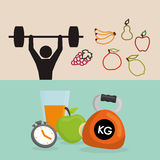 Weight lifting healthy lifestyle design. Pictogram fruits drink weight lifting healthy lifestyle fitness gym bodybuilding icon set. Colorful and flat design Stock Photography