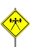 Weight-lifting icon in traffic plate. Royalty Free Stock Image
