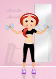 Weight lifting. Illustration of girl in the gym Royalty Free Stock Images