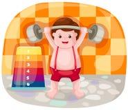 Weight lifting player. Illustration of cartoon  weight lifting player Royalty Free Stock Photography