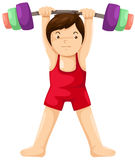 Weight lifting player. Illustration of isolated weight lifting player on white background Royalty Free Stock Photography
