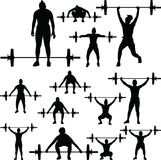 Weight lifting silhouette. Group of weight lifting girls silhouette vector Royalty Free Stock Photography