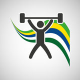 Weight lifting sportsman flag background design Stock Photography