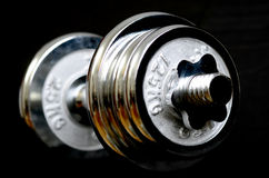Weight Lifting Weights. Shiny metal weights used for weight lifting for strength and fitness Stock Photos
