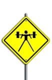 Weight-liftingikone in der Verkehrsplatte. Lizenzfreies Stockbild
