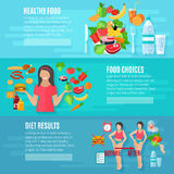 Weight loose diet flat banners set Royalty Free Stock Photo