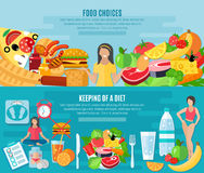 Weight loose diet flat banners set. Healthy food choice for maintaining low fat diet 2 flat horizontal banners set abstract  vector illustration Stock Images