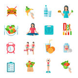 Weight loose diet flat icons set Royalty Free Stock Images