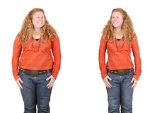 Before and after weight loss. Before and after images of the same girl fat and slim - weight loss, diet, positive change concepts Stock Images