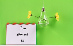 Weight loss affirmation. I am slim and fit. Inspirational motivating quote. Diet, healthy life style concept Stock Photography