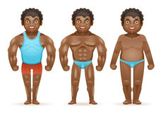 Weight loss afroamerican bodybuilder muscular fat man before after sports happy characters isolated 3d cartoon design. Weight loss afroamerican bodybuilder stock illustration