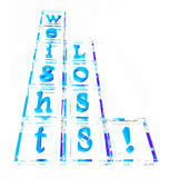 Weight loss block. Weight loss word in glass blocks Stock Illustration