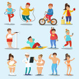 Weight Loss Characters Set. With physical exercises proper nutrition and healthy lifestyle isolated vector illustration Stock Images