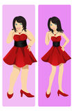 Weight loss concept. A  illustration of a weight loss concept showing a girl transformation from fat to skinny Royalty Free Stock Photos