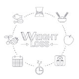 Weight loss concept. Infographic with diet and healthy lifestyle symbol Royalty Free Stock Image