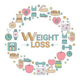 Weight loss concept. Infographic with diet and healthy lifestyle symbol Stock Photos